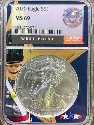 2020 American Silver Eagle - NGC MS69 West Point Core - BRAND NEW - 1oz Silver