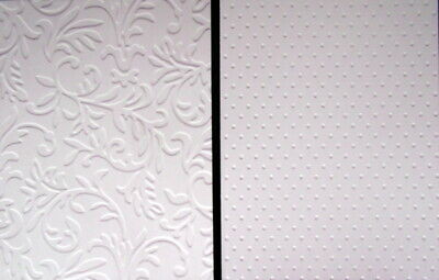 EMBOSSED WHITE CARDSTOCK PACK x 10 - 2 designs  -SCRAPBOOKING/CARDMAKING
