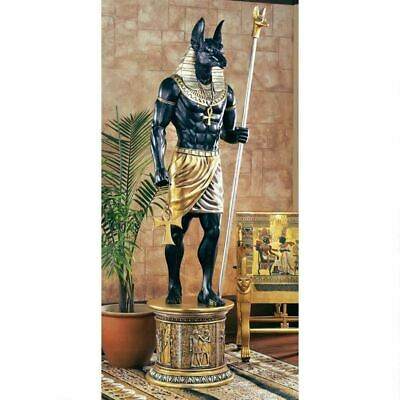 "Egyptian God Anubis Grand Ruler Covered W/ Real Gold And Silver Leafs 97"" Statue"