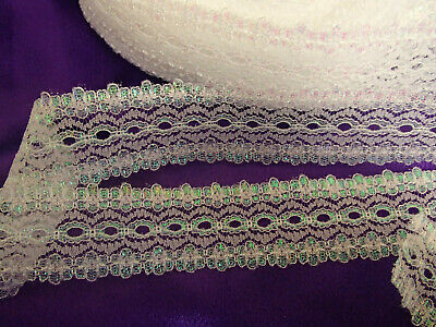 "Eyelet/knitting in/ coathanger lace 5.95 metres x 3.5 wide ""White Opal"" colour"