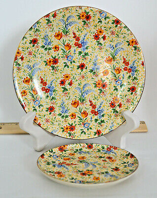 Green and Co Gresley Chintz Flower Large Serving Plate and Smaller Plate