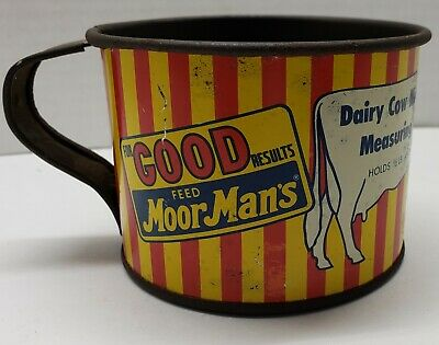 Early Moor Mans Feed Cup Rare Dairy Cow Print Milk, Grain, Hay, Grass Roughages