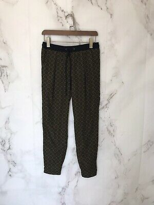 sanctuary Womens Jogger Pants Size XS Green Black Geometic Print Drawstring