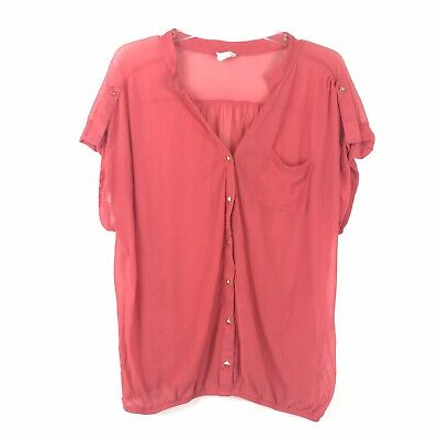 One Clothing Womens Size 2X Pink Sheer Button Down Elastic Hem Short Sleeve Top