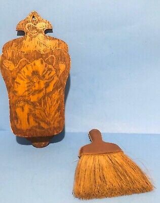 Antique Pyrography Flemish Art Poppy Flowers Hanging Holder Includes Whisk Broom