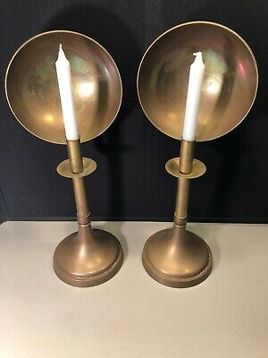 """18"""" Antique Brass Candle Lamp Stand PAIR With Reflector"""