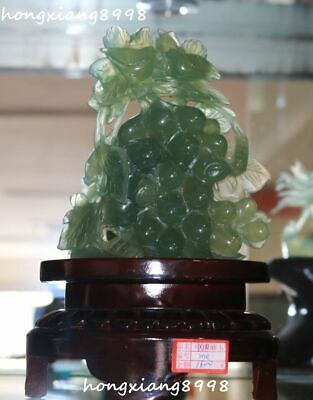 "11"" Rare Chinese Natural Green Jade Hand Carving Grape Bird Birds Magpie Statue"