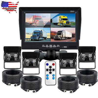 "7"" Quad Split Screen Monitor Truck Trailer Backup Camera Reversing Camera System"