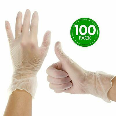 100PCS/CASE Medical Industrial Disposable Gloves Vinyl Latex Powder Free Clear