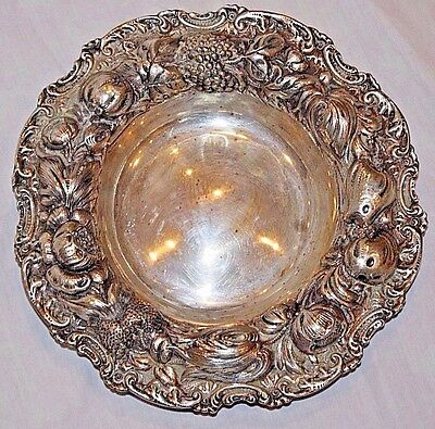 Antique J.E. Caldwell Sterling Silver Repousse Fruit Bowl or Dish