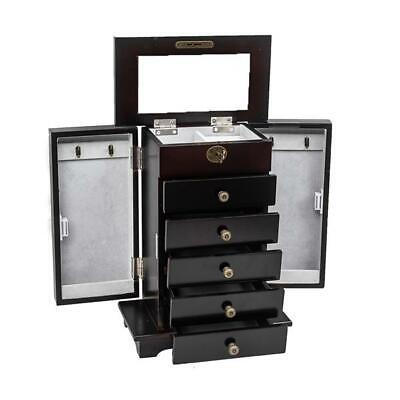 Wooden Jewelry Box Organizer Wood Cabinet 6 Layers Case with 5 Drawers- Brown