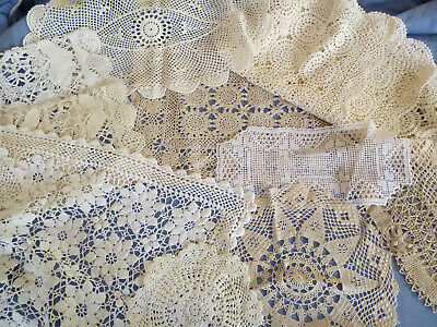 LOT of 10 VINTAGE CROCHET & FILET DOILIES  Round Sandwich Traycloths Runners