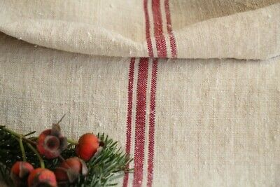 HP 828 antique french linen grain sack grainsack pale oatmeal red stripes