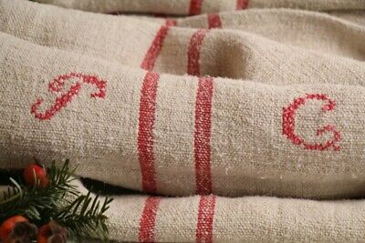 HP 842 antique french linen grain sack grainsack pale oatmeal strawberry red ...