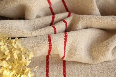 HP 870 antique french linen grain sack grainsack natural white strawberry red ..