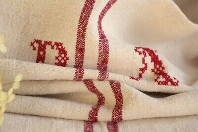 HP 875 antique french linen grain sack grainsack natural creamy cherry red ...