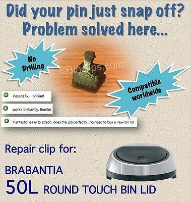 Fix Catch Striker Pin Clip for Brabantia Touch bin Trash can no drill 50/60L