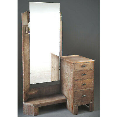 Art Deco Dressing Chest (delivery available) Limed Oak Drawers Mirror Lamp
