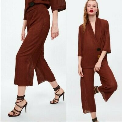 Zara Womens Rustic Wide Leg Shimmer Cropped Trouser Palazzo Pants L NWT