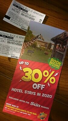 2 x TICKETS FOR CHESSINGTON WORLD OF ADVENTURES. VALID 06/07/2020.