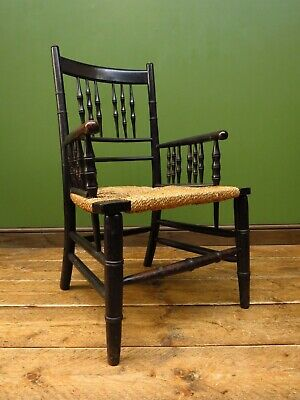 Ebonized Sussex Style Country Chair with Seagrass Seat, Simulated Bamboo, Rustic