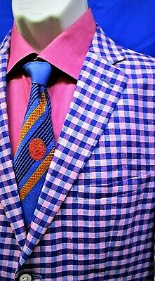 Tallia Men's Gingham Sport Coat in Pink and Blue  Sz:38s MSRP:$350