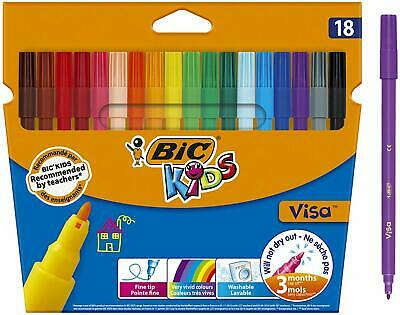 BIC Kids Visa Feutres Coloriage Pointe Fine Couleurs Assorties Etui Carton De 18