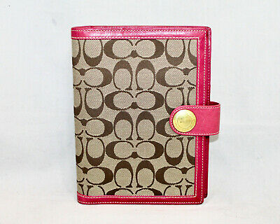 COACH Signature Notebook Planner Cover Khaki Brown Fabric Pink Leather 6.5 x 8.5