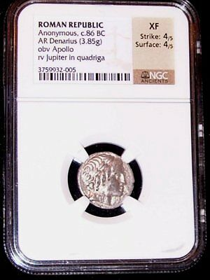NGC Roman Republic Anonymous c.86 BC AR Denarius Obv Apollo Rev Jupiter Quad XF