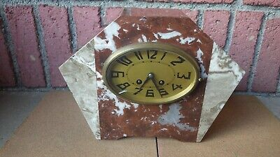 Vintage French Art Deco 2 Tone Marble Mantle Clock Wind Up Movement 1930'S/40'S