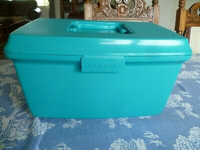 Vintage Teal Blue Colour Singer Sewing Box / Carry Case  Lift Out Tray / Insert