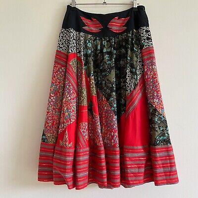 vintage red boho patchwork midi skirt full high waist floral