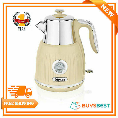 Swan 1.5L Retro Jug Kettle With Temperature Dial Stainless Steel 3000W SK31040CN
