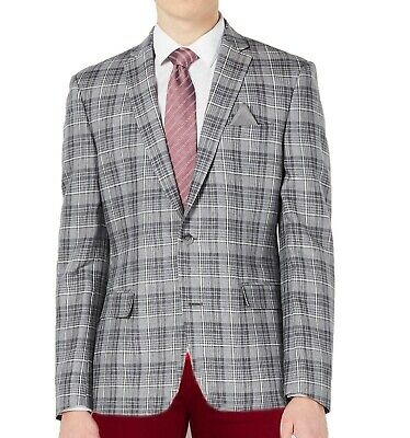 Bar III  Men's Slim-Fit Linen Gray Plaid Suit Jacket