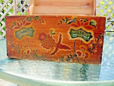 Antique Folk Art Primitive Painted Trunk Sea Creatures White Eastern Pine