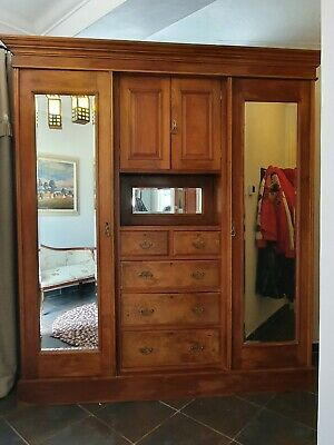 Quality Victorian/Edwardian Compactum Wardrobe Mahogany Walnut Mirror Drawers