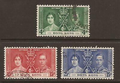 HONG KONG KGVI 1937 SG137/139 Coronation Set - Good Used (JB11556)
