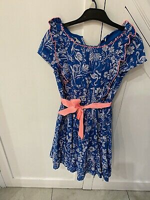 Girls Blue/ White Dress Monsoon Age 10 Pink Belt Part Lined Only worn Few Times