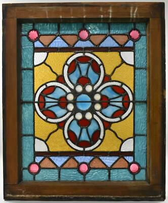 Antique American Victorian Stained & Jeweled Window Circa 1890's