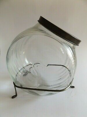 Antique Drug Store Apothecary Glass Storage Jar with Wire Base