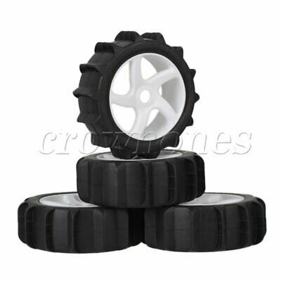 4 x Beach Rubber Tire 5 Spoke Wheel Rims White for RC1:8 Off Road Car Buggy