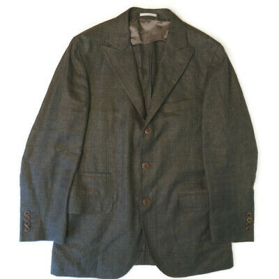 Brunello Cucinelli Mens Blazer Wool Silk Linen Peak Lapels Glen Plaid Sz 50 / 40