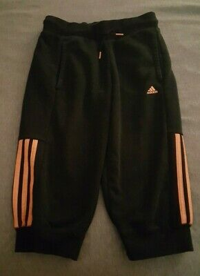 Adidas Girls Cropped Sweatpants Black Aged 11-12 Years In Fab Condition