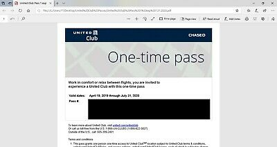 United Club One-Time Passes Expires 07/31/2020 Email delivery NOW! 🍻🍷🍾✈️