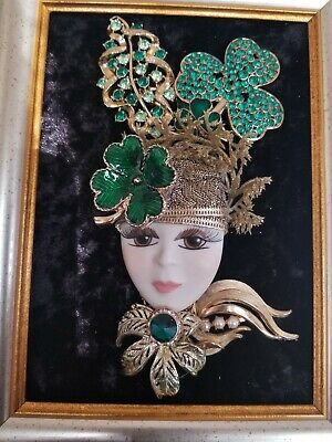 "Framed Jewelry Art Vintage/Modern ""St. Patrick Day Lady"" 5x7"