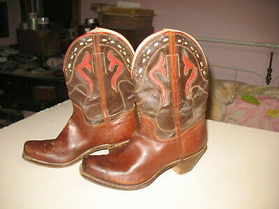 A Pair Of Child's 1950's Leather Cowboy Boots Unbranded Decorated With Some Wear