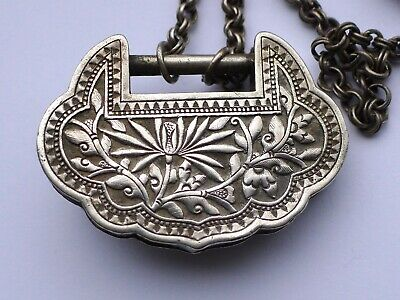 "Vintage SILVER CHINESE LOCK PENDANT/CHARM (2"" wide) ORIGINAL SILVER CHAIN ornate"