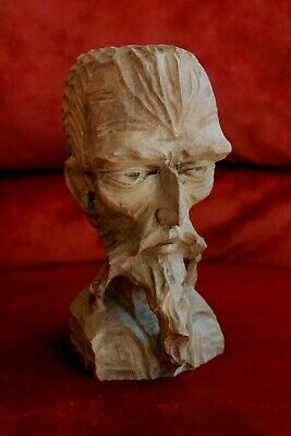 Vintage Hand Carved Wood Don Quixote Bearded Man Statue