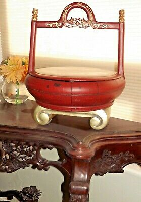 Antique Chinese Red Lacquer Elmwood WEDDING BASKET Gift Box Rice Carved Wood