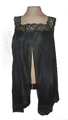 vintage 1940s Sleep Negligee Top Cover-up, Shadowline, Black Lace Sexy Mint M